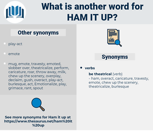 ham it up, synonym ham it up, another word for ham it up, words like ham it up, thesaurus ham it up
