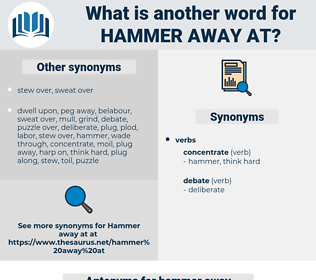 hammer away at, synonym hammer away at, another word for hammer away at, words like hammer away at, thesaurus hammer away at
