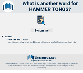 hammer tongs, synonym hammer tongs, another word for hammer tongs, words like hammer tongs, thesaurus hammer tongs