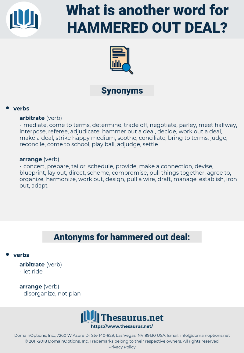 hammered out deal, synonym hammered out deal, another word for hammered out deal, words like hammered out deal, thesaurus hammered out deal