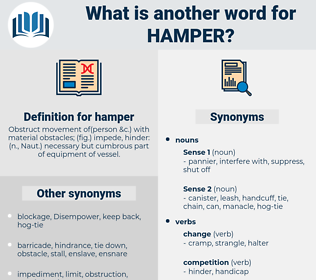 hamper, synonym hamper, another word for hamper, words like hamper, thesaurus hamper
