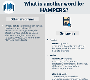 hampers, synonym hampers, another word for hampers, words like hampers, thesaurus hampers