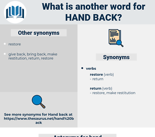 hand back, synonym hand back, another word for hand back, words like hand back, thesaurus hand back