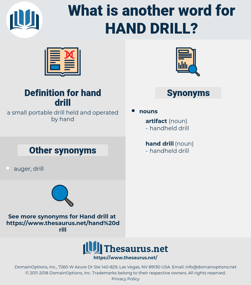Synonyms for HAND DRILL - Thesaurus net