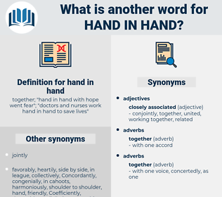 hand in hand, synonym hand in hand, another word for hand in hand, words like hand in hand, thesaurus hand in hand