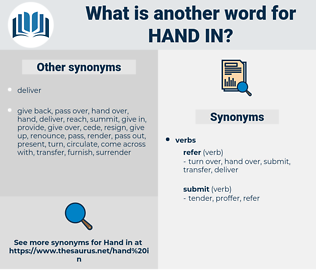 hand in, synonym hand in, another word for hand in, words like hand in, thesaurus hand in