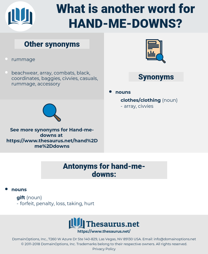 hand-me-downs, synonym hand-me-downs, another word for hand-me-downs, words like hand-me-downs, thesaurus hand-me-downs