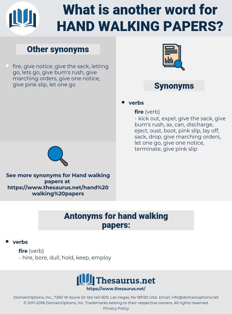 hand walking papers, synonym hand walking papers, another word for hand walking papers, words like hand walking papers, thesaurus hand walking papers