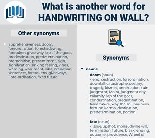 handwriting on wall, synonym handwriting on wall, another word for handwriting on wall, words like handwriting on wall, thesaurus handwriting on wall