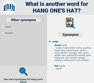 hang one's hat, synonym hang one's hat, another word for hang one's hat, words like hang one's hat, thesaurus hang one's hat