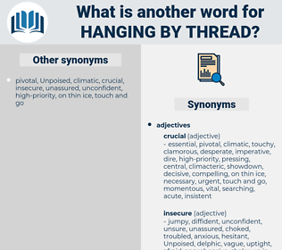 hanging by thread, synonym hanging by thread, another word for hanging by thread, words like hanging by thread, thesaurus hanging by thread