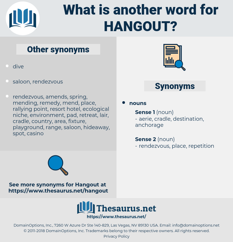 hangout, synonym hangout, another word for hangout, words like hangout, thesaurus hangout
