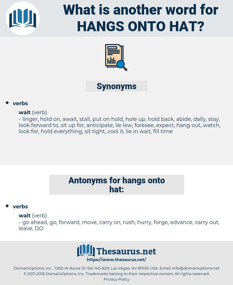 hangs onto hat, synonym hangs onto hat, another word for hangs onto hat, words like hangs onto hat, thesaurus hangs onto hat