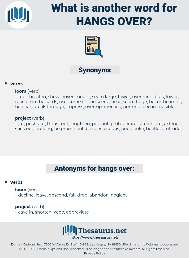 hangs over, synonym hangs over, another word for hangs over, words like hangs over, thesaurus hangs over
