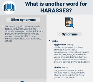 harasses, synonym harasses, another word for harasses, words like harasses, thesaurus harasses