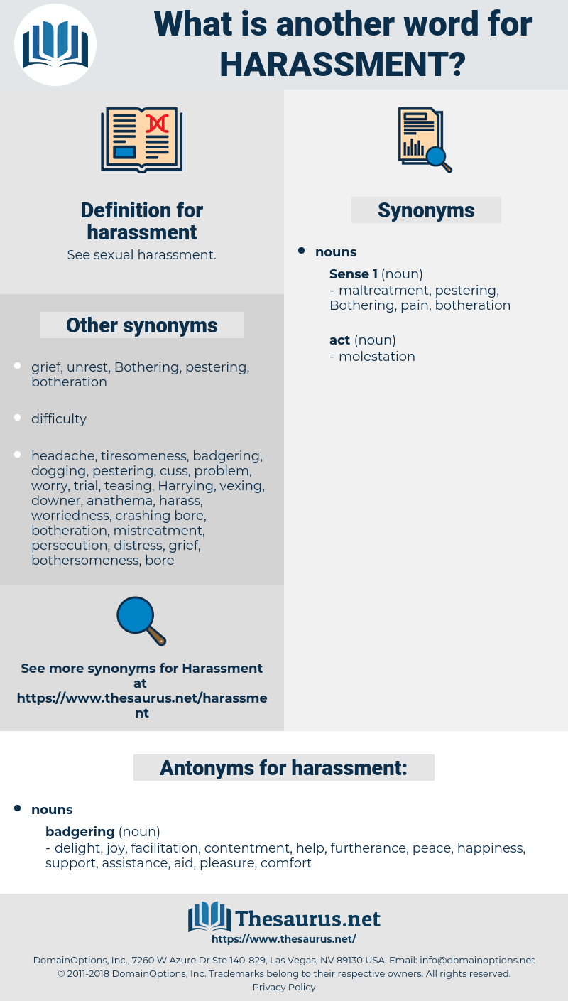 harassment, synonym harassment, another word for harassment, words like harassment, thesaurus harassment