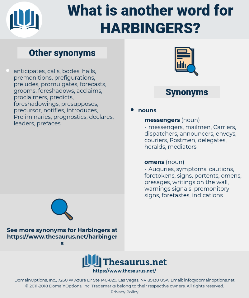 harbingers, synonym harbingers, another word for harbingers, words like harbingers, thesaurus harbingers