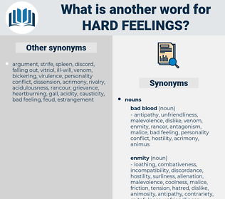 hard feelings, synonym hard feelings, another word for hard feelings, words like hard feelings, thesaurus hard feelings