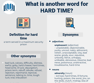 hard-time, synonym hard-time, another word for hard-time, words like hard-time, thesaurus hard-time