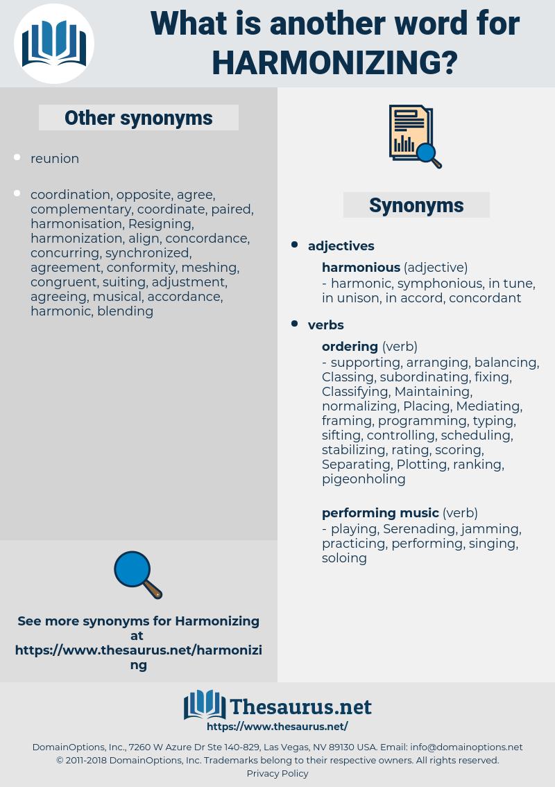 Harmonizing, synonym Harmonizing, another word for Harmonizing, words like Harmonizing, thesaurus Harmonizing