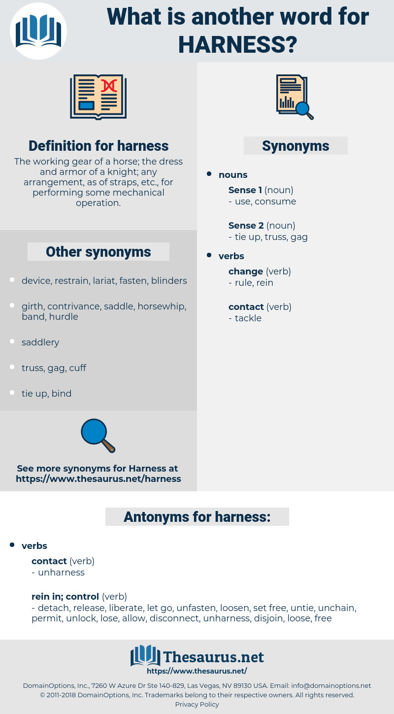 harness, synonym harness, another word for harness, words like harness, thesaurus harness