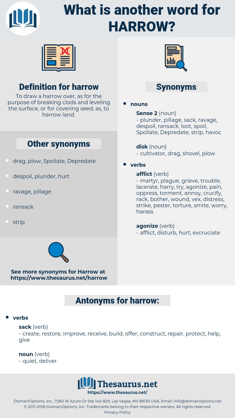 harrow, synonym harrow, another word for harrow, words like harrow, thesaurus harrow