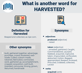Harvested, synonym Harvested, another word for Harvested, words like Harvested, thesaurus Harvested