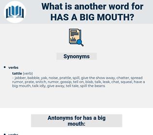 has a big mouth, synonym has a big mouth, another word for has a big mouth, words like has a big mouth, thesaurus has a big mouth