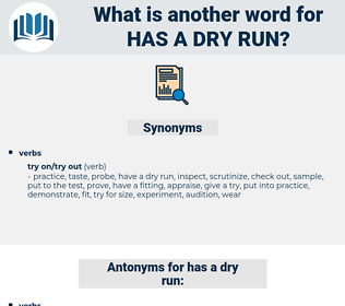 has a dry run, synonym has a dry run, another word for has a dry run, words like has a dry run, thesaurus has a dry run
