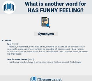 has funny feeling, synonym has funny feeling, another word for has funny feeling, words like has funny feeling, thesaurus has funny feeling