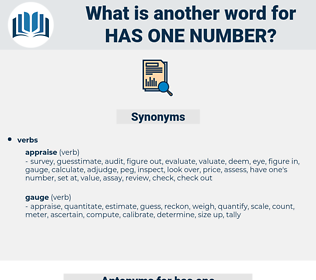 has one number, synonym has one number, another word for has one number, words like has one number, thesaurus has one number