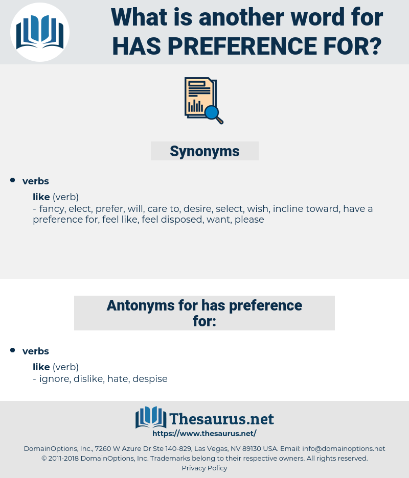 has preference for, synonym has preference for, another word for has preference for, words like has preference for, thesaurus has preference for