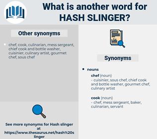 hash slinger, synonym hash slinger, another word for hash slinger, words like hash slinger, thesaurus hash slinger
