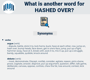 hashed over, synonym hashed over, another word for hashed over, words like hashed over, thesaurus hashed over