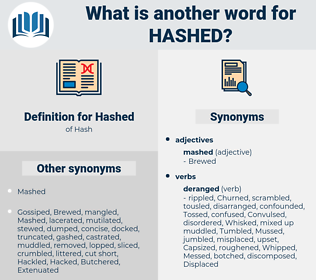 Hashed, synonym Hashed, another word for Hashed, words like Hashed, thesaurus Hashed