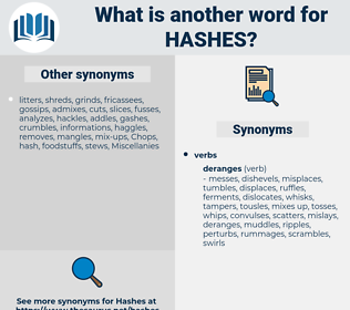 hashes, synonym hashes, another word for hashes, words like hashes, thesaurus hashes