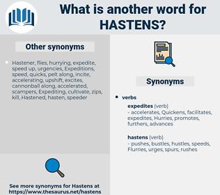 hastens, synonym hastens, another word for hastens, words like hastens, thesaurus hastens