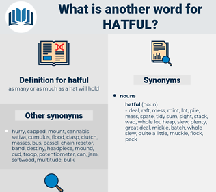hatful, synonym hatful, another word for hatful, words like hatful, thesaurus hatful