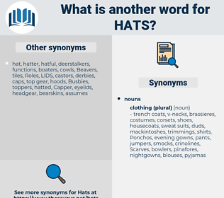 hats, synonym hats, another word for hats, words like hats, thesaurus hats