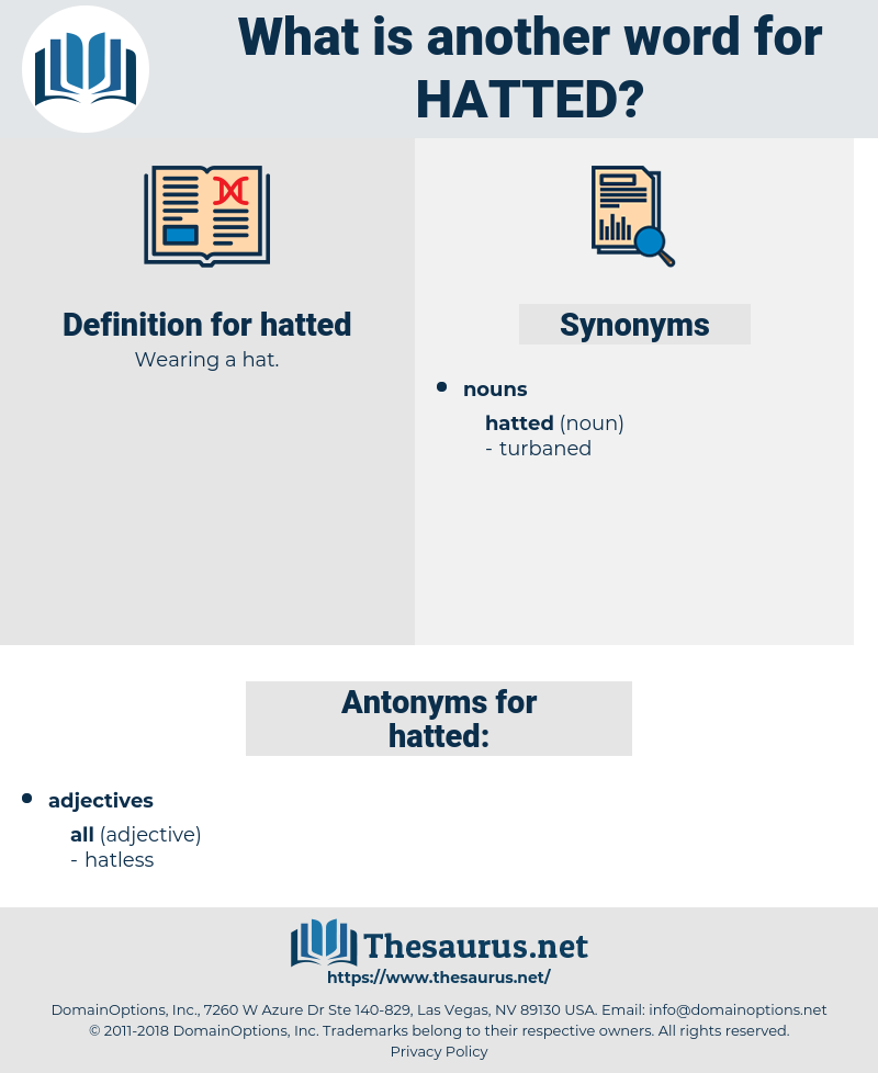 hatted, synonym hatted, another word for hatted, words like hatted, thesaurus hatted
