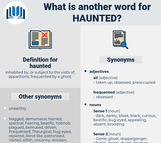 haunted, synonym haunted, another word for haunted, words like haunted, thesaurus haunted