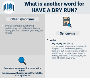 have a dry run, synonym have a dry run, another word for have a dry run, words like have a dry run, thesaurus have a dry run
