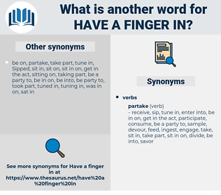 have a finger in, synonym have a finger in, another word for have a finger in, words like have a finger in, thesaurus have a finger in