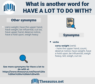 have a lot to do with, synonym have a lot to do with, another word for have a lot to do with, words like have a lot to do with, thesaurus have a lot to do with