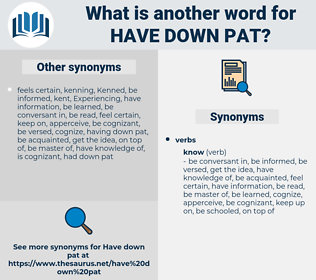 have down pat, synonym have down pat, another word for have down pat, words like have down pat, thesaurus have down pat