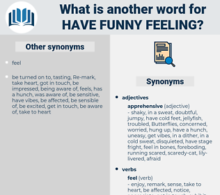 have funny feeling, synonym have funny feeling, another word for have funny feeling, words like have funny feeling, thesaurus have funny feeling