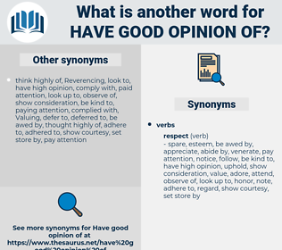 have good opinion of, synonym have good opinion of, another word for have good opinion of, words like have good opinion of, thesaurus have good opinion of