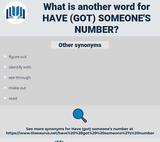 have (got) someone's number, synonym have (got) someone's number, another word for have (got) someone's number, words like have (got) someone's number, thesaurus have (got) someone's number