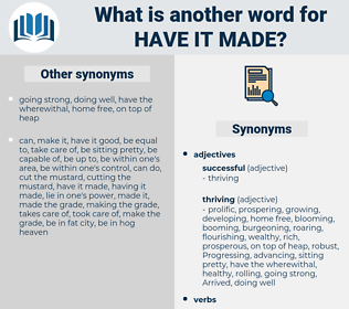 have it made, synonym have it made, another word for have it made, words like have it made, thesaurus have it made