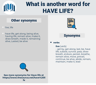 have life, synonym have life, another word for have life, words like have life, thesaurus have life